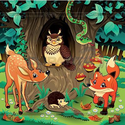 Tiere im Wald | Stock Vektorgrafik |ID 3473558