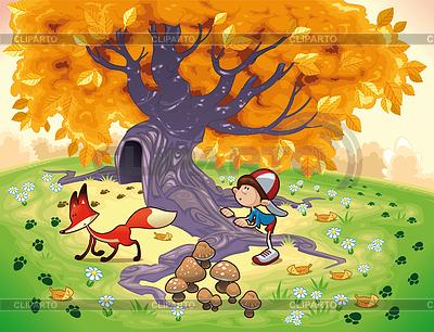 Chłopiec i Fox w drewnie | Klipart wektorowy |ID 3497563