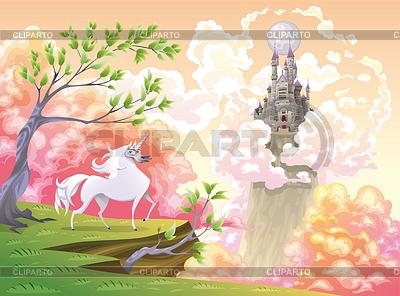 Unicorn und mythologische Landschaft | Stock Vektorgrafik |ID 3511496