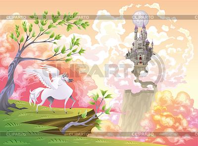Pegasus und mythologische Landschaft | Stock Vektorgrafik |ID 3511498