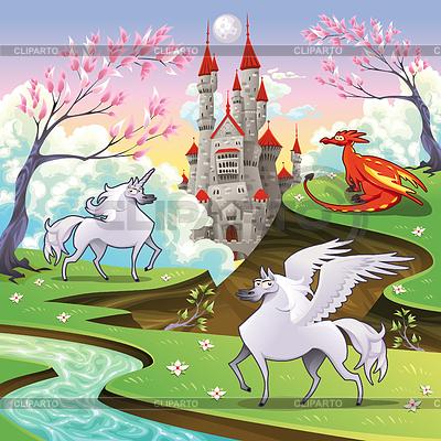Pegasus, Jednorożec i smok w mitologiczny | Klipart wektorowy |ID 3511500