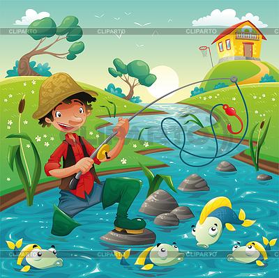 Sceny z kreskówki rybaka i ryby | Klipart wektorowy |ID 3511534