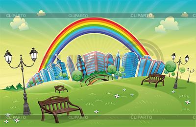 Парк с радугой | Векторный клипарт |ID 3518704