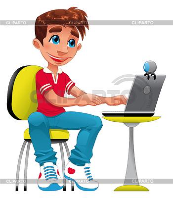 Мальчик и компьютер векторный