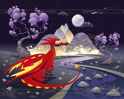 Drachen in der Landschaft in der Nacht | Stock Vektorgrafik |ID 3519318