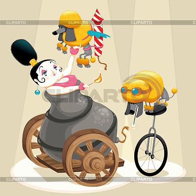 Frau mit Kanonen und Dackel im Zirkus | Stock Vektorgrafik |ID 3519627