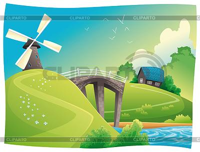 Landschaft mit Windmühle | Stock Vektorgrafik |ID 3520643
