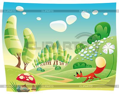 Fox w lesie | Klipart wektorowy |ID 3520649