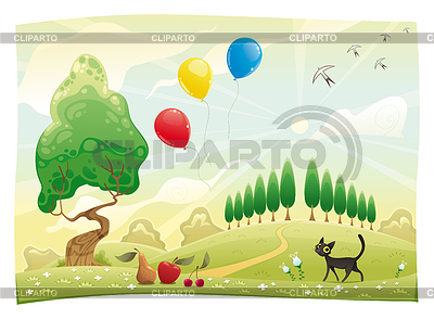 Landschaft mit Katze | Stock Vektorgrafik |ID 3525130