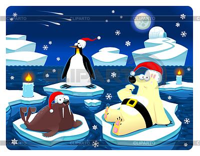 Boże Narodzenie na biegunie północnym | Klipart wektorowy |ID 3525134