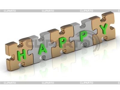 Puzzle słowo HAPPYgold | Stockowa ilustracja wysokiej rozdzielczości |ID 3477973
