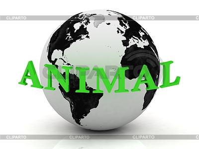 ANIMAL Abstraktion Inschrift um die Erde | Illustration mit hoher Auflösung |ID 3595489