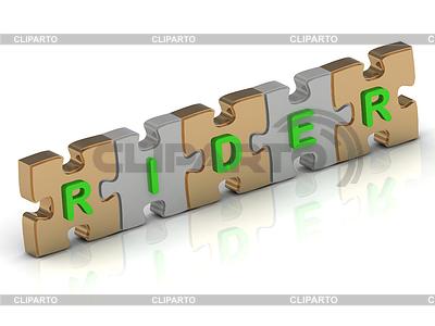 RIDER Wort gold puzzle | Illustration mit hoher Auflösung |ID 3595706
