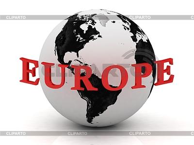EUROPA abstrakcja napis wokół ziemi | Stockowa ilustracja wysokiej rozdzielczości |ID 3600679