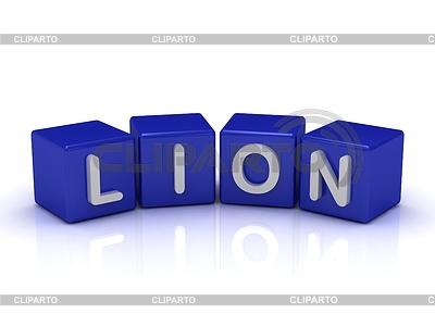 LION Wort auf blauem Würfel | Illustration mit hoher Auflösung |ID 3601369