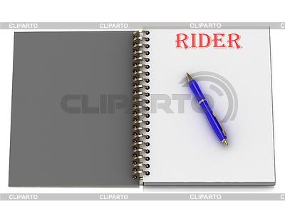 RIDER Wort auf Notebook-Seite | Illustration mit hoher Auflösung |ID 3602007