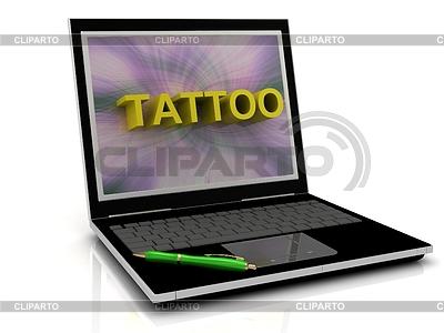 TATTOO Nachricht auf Laptop-Bildschirm | Illustration mit hoher Auflösung |ID 3602699