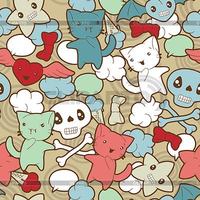 Nahtloses Muster mit Doodle-Zeichnungen. Kawaii | Stock Vektorgrafik |ID 3503840