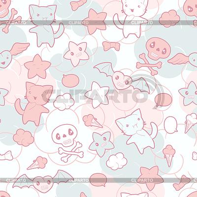 Nahtloses Muster mit Doodle-Zeichnungen. Kawaii | Stock Vektorgrafik |ID 3503846