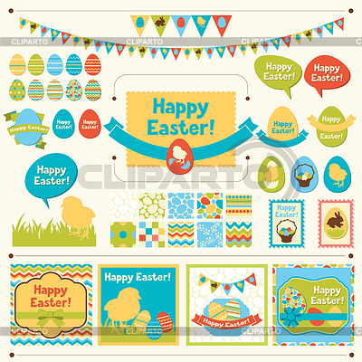 Set Happy Easter Ornamente und dekorative | Stock Vektorgrafik |ID 3576439