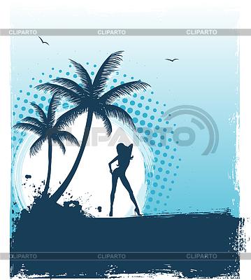 Tropischer Hintergrund mit junger Frau | Stock Vektorgrafik |ID 3487809