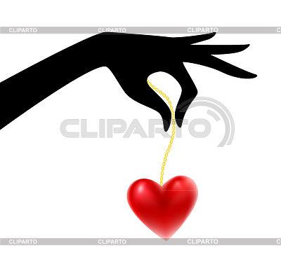 Womans sylwetka rękę z serca | Klipart wektorowy |ID 3489859