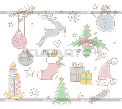 Set von Weihnachts-Objekten | Stock Vektorgrafik |ID 3489951