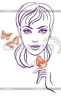 Schöne junge Frau mit Schmetterlingen | Stock Vektorgrafik |ID 3513465