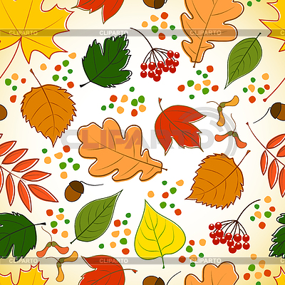 Seamless pattern with colorful autumn leaves | Klipart wektorowy |ID 3547350