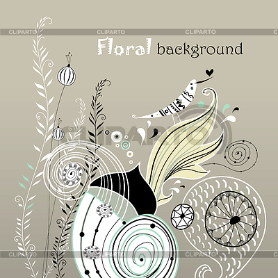 Floraler Hintergrund mit verliebtem Vogel | Illustration mit hoher Auflösung |ID 3601815