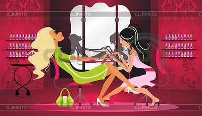 Frau tut eine Maniküre im Salon | Stock Vektorgrafik |ID 3524901