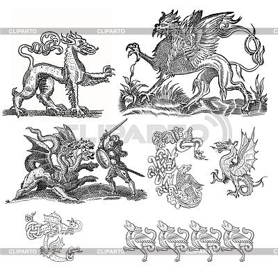 Dragon set illustration | Stockowa ilustracja wysokiej rozdzielczości |ID 3599660