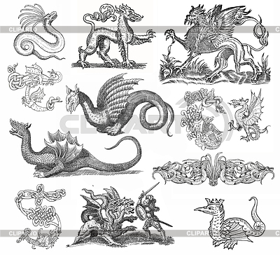 Dragons set illustration | Illustration mit hoher Auflösung |ID 3685307