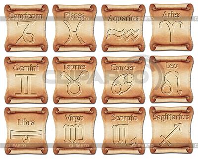 Set von Sternzeichen Symbole auf alten Schriftrollen | Illustration mit hoher Auflösung |ID 3573202
