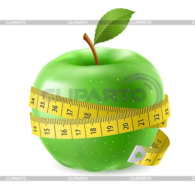 Зеленое яблоко и сантиметр | Векторный клипарт | CLIPARTO Зеленое Яблоко Клипарт