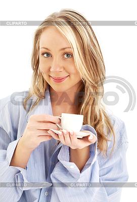 Блондинка с кофе картинка