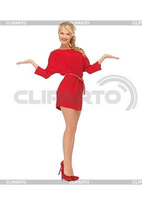 Frau zeigt etwas auf Handflächen | Foto mit hoher Auflösung |ID 3651944