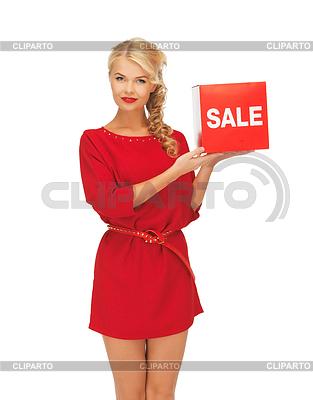 Schöne Frau im roten Kleid mit Verkauf Zeichen | Foto mit hoher Auflösung |ID 3652049