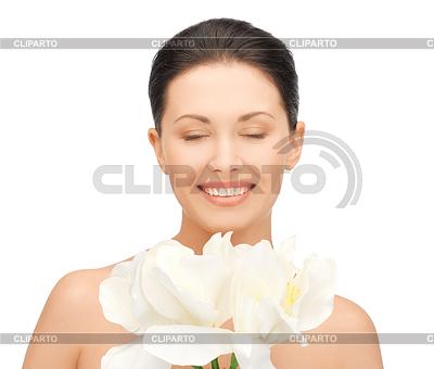 Прекрасная женщина с цветком орхидеи | Фото большого размера |ID 3653696