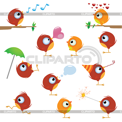 Канарейки птица набор | Векторный клипарт |ID 3639468