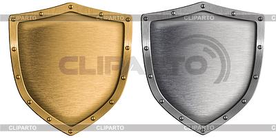 Металлические щиты установлены серебра и золота | Фото большого размера |ID 3657076