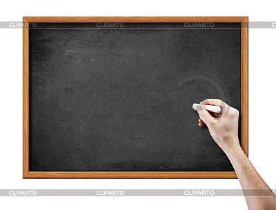 Leere Tafel und Hand mit Kreide | Foto mit hoher Auflösung |ID 3657202
