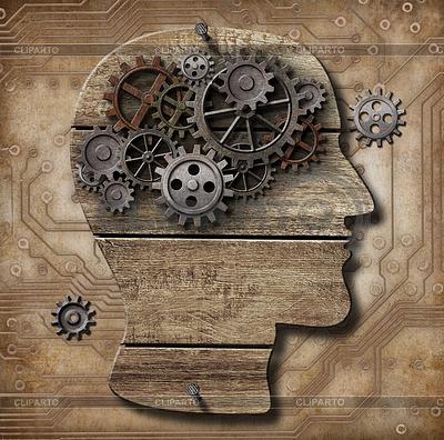 Ludzki mózg z biegów zardzewiały metal i świnie | Stockowa ilustracja wysokiej rozdzielczości |ID 3657305