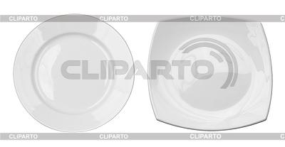 Draufsicht von runden und quadratischen Platten Set | Foto mit hoher Auflösung |ID 3657386