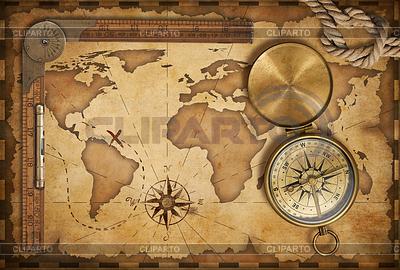 세 보물지도, 눈금자, 로프와 오래 된 황동 COMPAS | 높은 해상도 사진 |ID 3657498