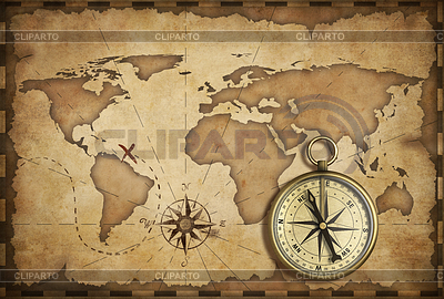 Wieku mosiądz antyczny nawigacyjny kompas i mapa stary dowcip | Foto stockowe wysokiej rozdzielczości |ID 3657499
