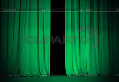 Grün oder emerald Vorhang auf Theater oder Kino | Foto mit hoher Auflösung |ID 3657533