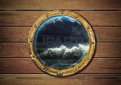Schiff Bullauge mit Sturm draußen | Foto mit hoher Auflösung |ID 3657539