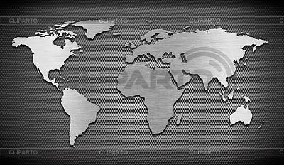 Metall-Weltkarte auf dem Rost Kamm Hintergrund | Illustration mit hoher Auflösung |ID 3658418