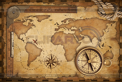 Wieku treasure map, linijka, liny i starych kompas mosiądzu | Foto stockowe wysokiej rozdzielczości |ID 3658419